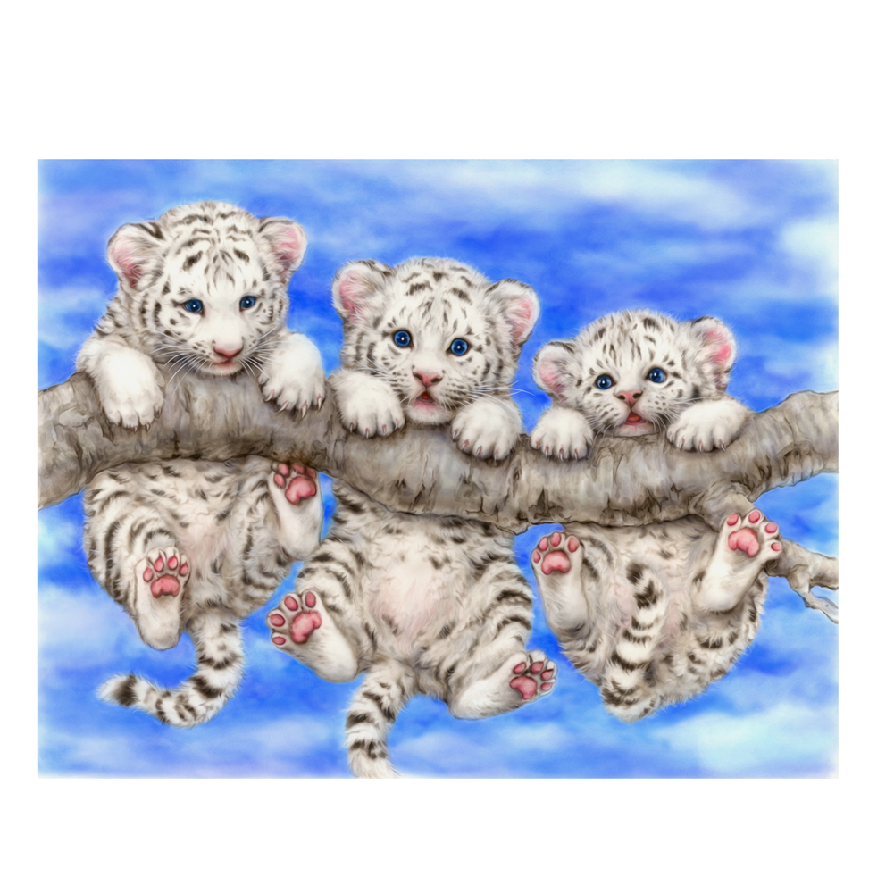 5D Diamond Embroidery Tigers Three Tigers Baby DIY Diamond Painting White  Tigers Mosaic Needlework Home Decor Craft