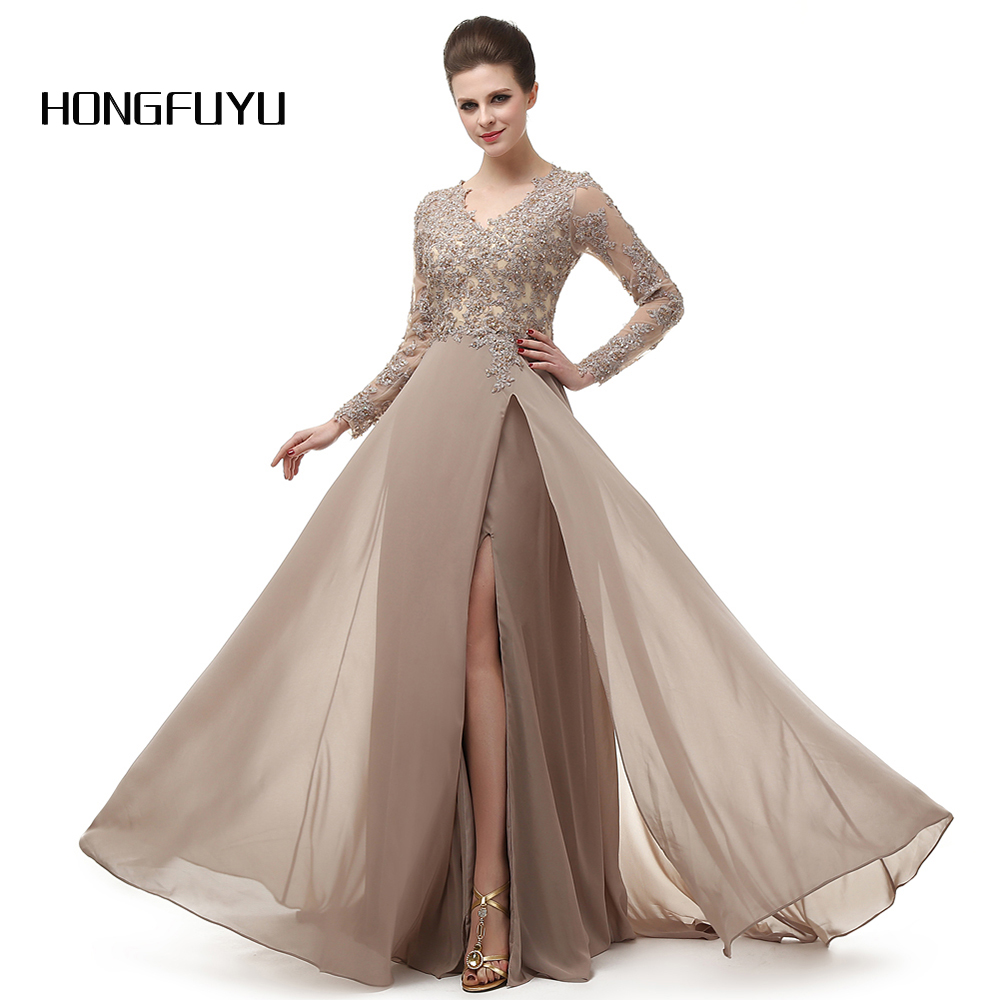 High Quality Chiffon Appliques V Neck A Line Long Prom Dresses 2019 High Slit Floor Length Long Sleeves Prom Dress DB232