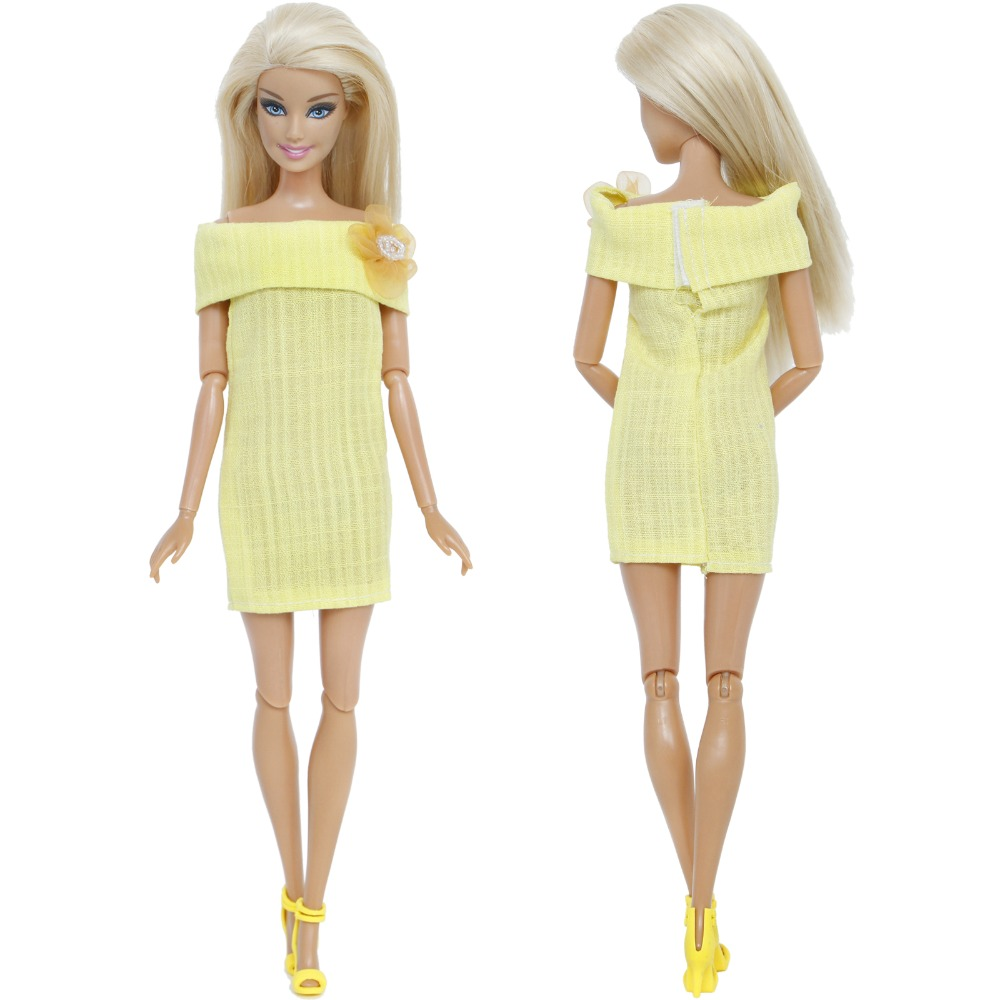 2 Pcs Lot   1x Fashion Yellow Dress Dinner Party Gown + 1x High Heel Shoes Accessories  Clothes For Barbie Doll Girl s Xmas Gift c8ba0d217525