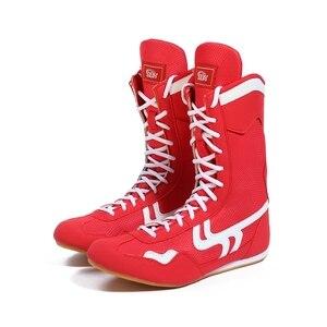 Botas de boxeo para hombre, calzado de entrenamiento de boxeo, rojo y negro, 35 -- 46