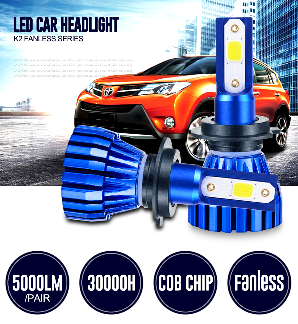 2PCS 4 Color K2 Fanless H7 LED H4 Car headlight bulb 4300K 6500K 8000K 3000K COB CHIP H1 H3 H8 H11 9005 9006 HB3 HB4 5000LM 50W (1)