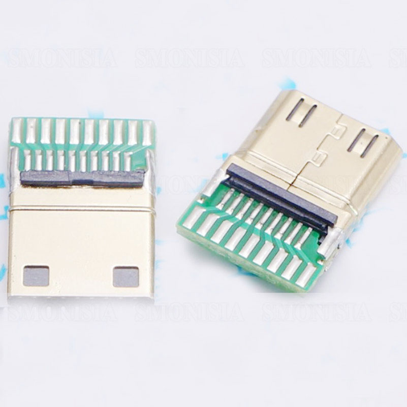 MINI HDMI Male Plug 19P With PCB Soldering Block HDMI Jack C Type 19+1 techlink wiresnx2 hdmi a plug minihdmi c plug 5m 710415