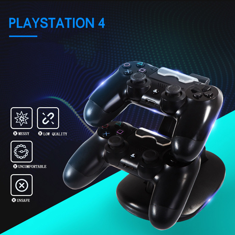 Image 2 - Controller Charger Dock LED Dual USB PS4 Stand up Charger For Sony PlayStation 4 / PS4 Pro Wireless Game Handle Joystick holder-in Chargers from Consumer Electronics