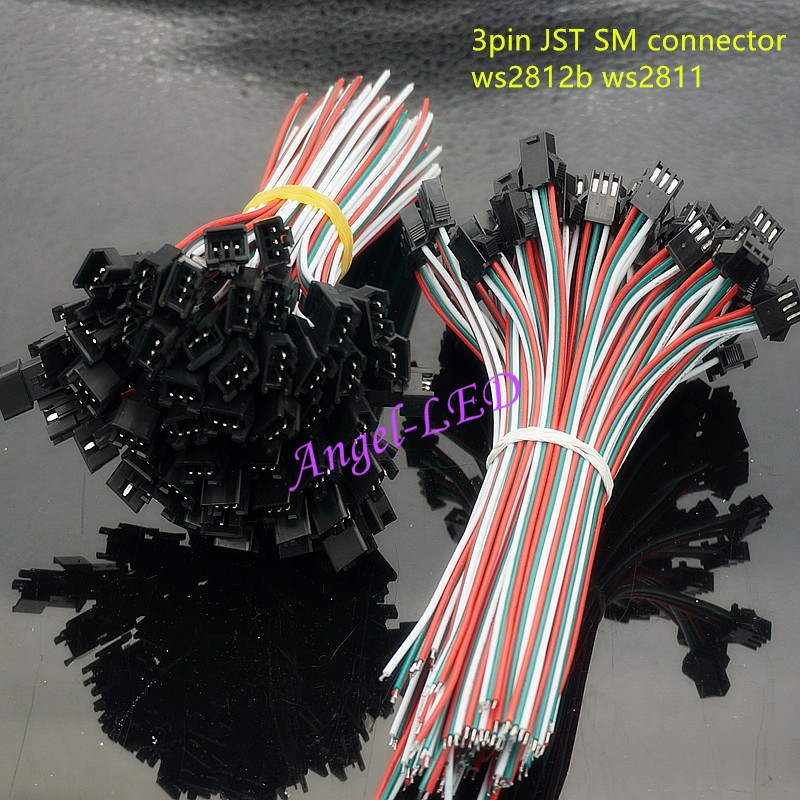 цена 50 Pair 3pin JST SM Plug led Connector Cable 3 Pin JST SM Connector Male to Female for 2811 2812B RGB LED Strip Lights