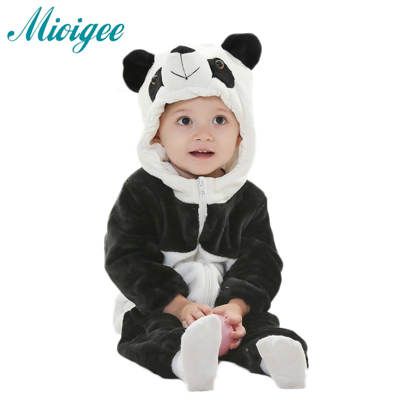 Baby Girls Boys Clothes Newborn One Piece Warm Outerwear Children's Overalls Baby Rompers Winter Jumpsuit Flannel Panda Romper baby clothes baby rompers winter christmas costumes for boys girl zipper rabbit ear newborn overalls jumpsuit children outerwear