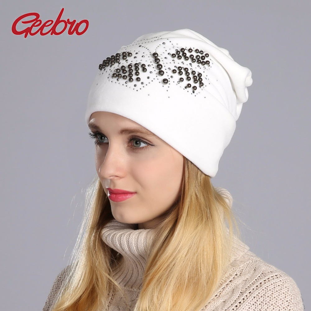 Geebro 2017 Winter Beanie Hat Ladies Warm Velvet Hats For Women Beanies Hats Pearls Butterfly Diamond Beanie With With Ear Flaps
