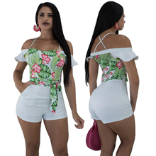 ФОТО  women one piece printed outfits short pant backless jumpsuits ruffler  sling bodycon short pants sexy rompers night club suit