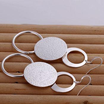 Silver color creative for women lady charms cute wedding fashion Double circle earrings Circular shape silver earrings E012 2