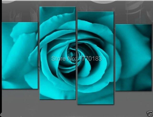 hecho a mano azul verde turquesa flor pintura al leo sobre lienzo rose pinturas unidades
