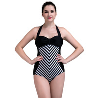 2016 NEW Girl S Woman Classic Retro Style One Pieces Swimwear Black White Striped Swimsuit High