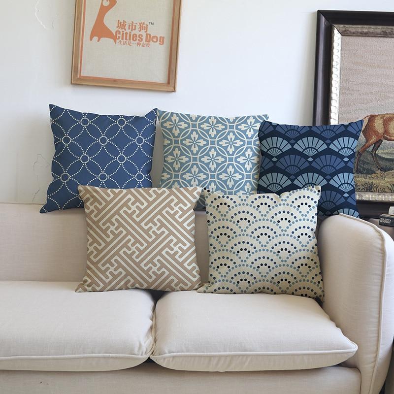 Dark blue brown beige classic retro geometric pattern sofa - Sofa azul turquesa ...