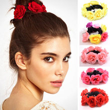 Big Rose Flower Elastic Hair Bands Girls Tie Gum Fabric Rubber Band Crown Wedding Women Hair Accessories(China)