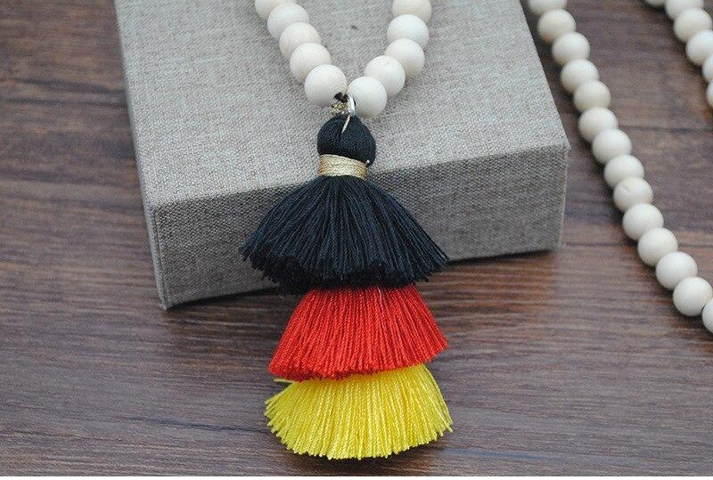 84a6d2e65d7c Collar de borla largo Boheme con cuentas de madera Bohemia declaración  étnica Boho collar de mujer joyería femenina Collana Longitud
