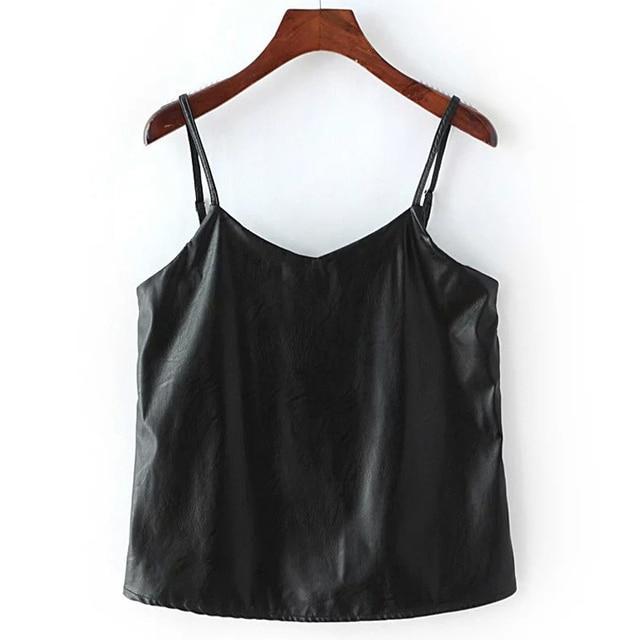 Mulheres Sexy PU Leather Sling Vest Camis Tops camisa na cor preta