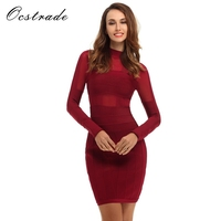 Free Shipping 2016 New Style Women Sexy Wine Red Mesh Long Sleeve Bandage Dress Bodycon