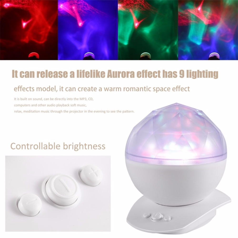 Colorful LED Night Light Ocean Wave Projector White ABS Ocean Diamond Projection Led Night Light With Speaker Party Lamp EU plug