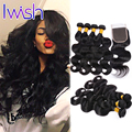 Brazilian Virgin Hair Body Wave With Closure Wet Wavy Virgin Brazilian Hair with Closure Natural Wave Human Hair With Closure