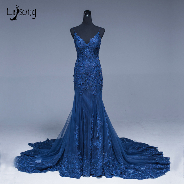 Saudi Arabic Mermaid Lace Evening Dresses Navy Blue Long Prom Gowns Abiye  Sexy Formal Evening Gowns Crystal Abendkleider 103f30731f8a
