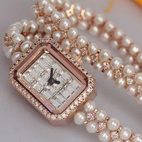 Authentic Ladies Watches Fashion Ladies Watch Square Rhinestone Gypsophila Pearl Bracelet Watches Fashion Watches