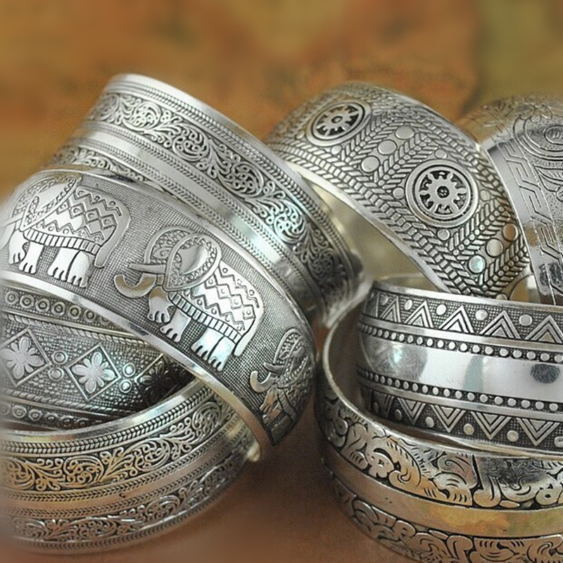 NEW Gypsy Square Flower Metal Tibetan Silver Vintage Retro Fashion Cuff Bracelet Bangle Free Shipping For Her Christmas Gift