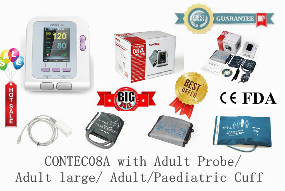 CONTEC08A BP monitor, LCD Color Screen, with adult probe / Adult large / Adult /paediatric cuff