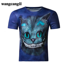 wangcangli 2017 fitness tee shirt deadpool funny t shirts Cat 3D compression shirt Character joker Blue kitten anime men t shirt