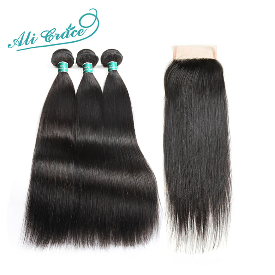 Ali Grace Hair Mongolian Straight Hair With Lace Closure 100 Remy Hair 3 Bundles With 4