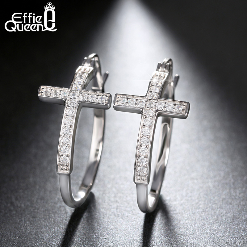 Effie Queen Hot Sale Big Hoop Earrings with CZ Diamonds Classic Cross Style Clip Design 2018 Women's Earring Jewelry DE142