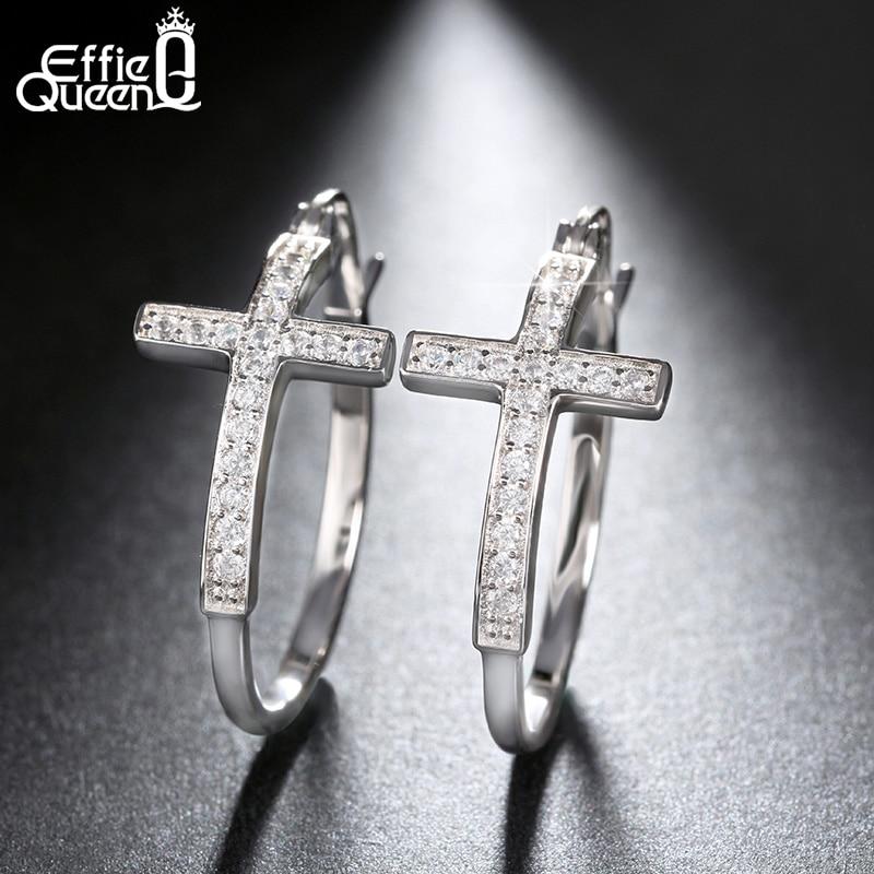 Hot Sale Big Hoop Earrings with CZ Diamonds Classic Cross Style Design Jewelry High Quality Women Earrings DAE033