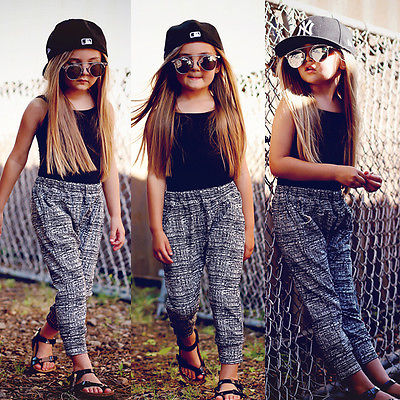 Girls Summer Fashion outfits Baby Kids Girl Clothes Black Vest Tops T-shirt+Harem Pants 2pcs Outfit Set 2-7Y Clothing