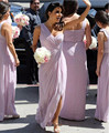 2017 Cheap Price Chiffon Lavender Side Slit Sleeveless Bridesmaid Dresses Sweetheart  light  purple Bridesmaid Dresses New