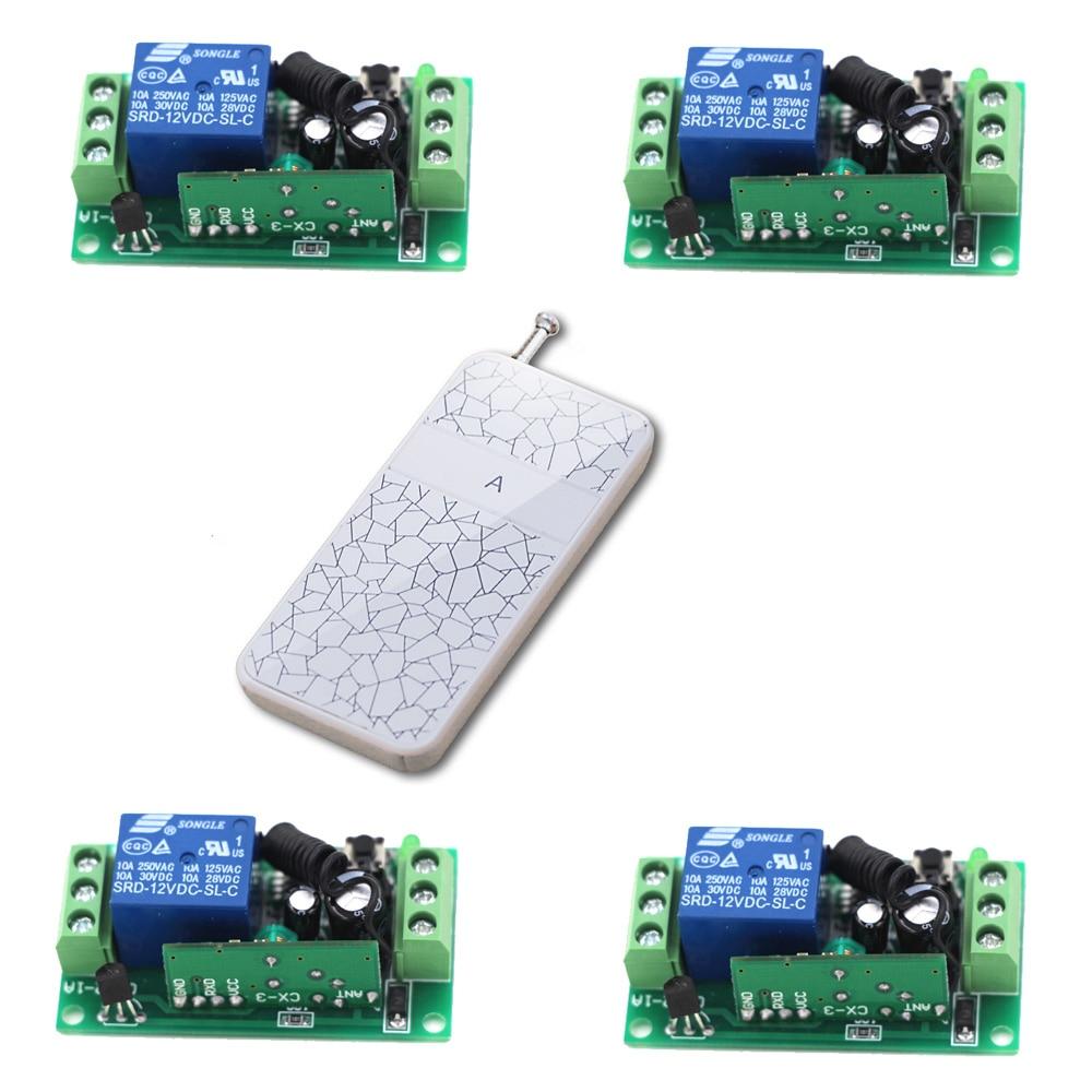 Promoción Nueva DC24V RF Wireless Remote Control System 12 V 9 V 1CH 4 Receptor