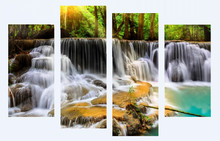 Framed 4 beautiful waterfall modern home wall decoration canvas picture HD print free shipping