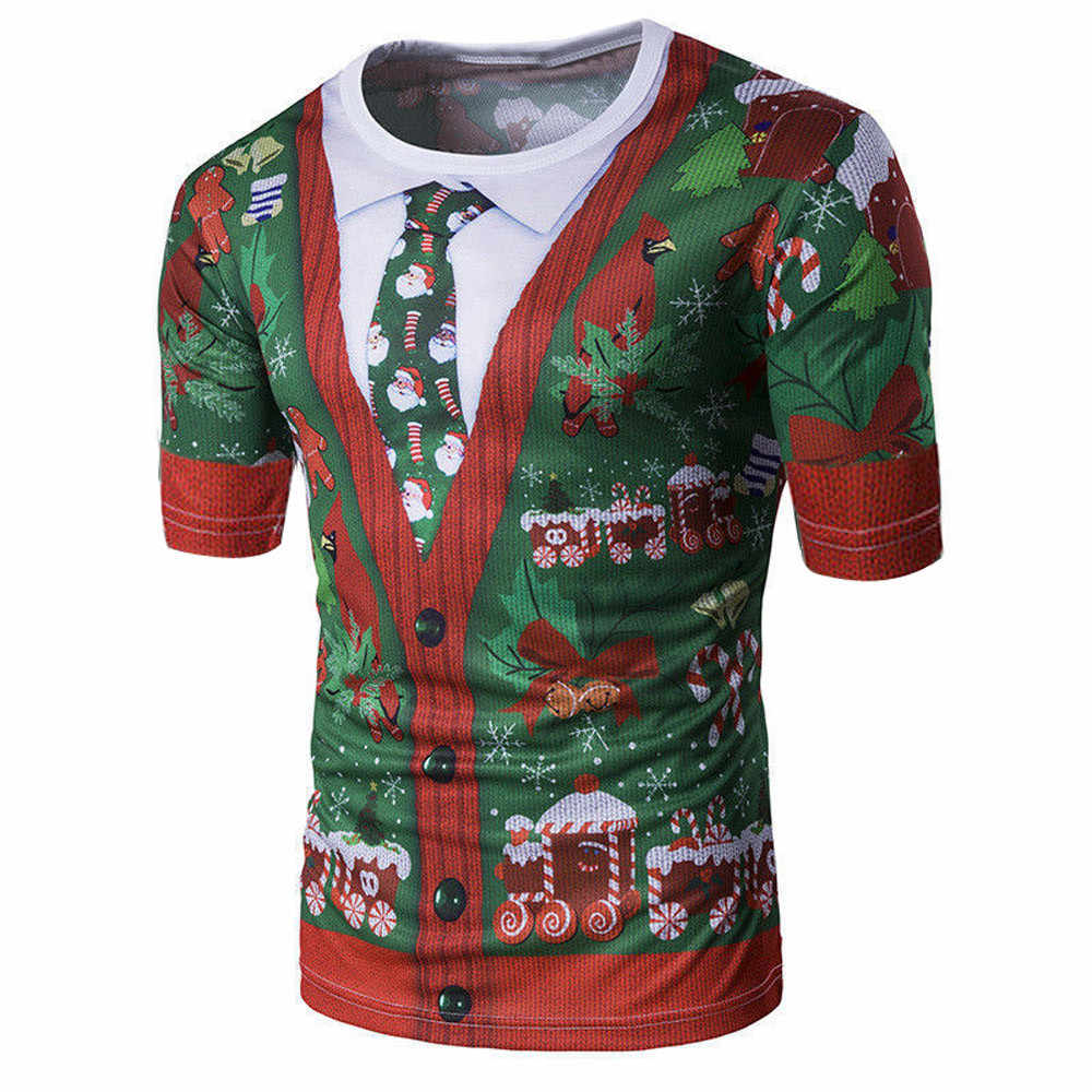 Navidad Harajuku camiseta hombres 2018 Streetwear Impresión de manga corta Camiseta divertida compresión Hip Hop camiseta camisetas hombre