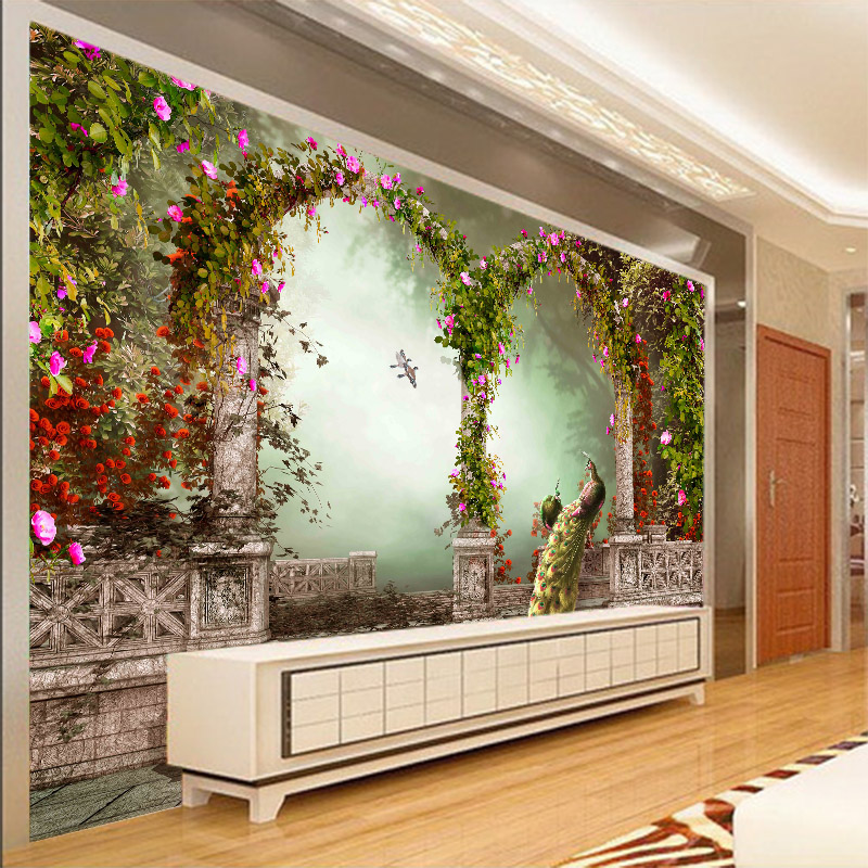 Custom 3D photo wallpaper 3D Flowers mural hotel lobby TV sofa background wall peacock 3D European style wallpaper mural