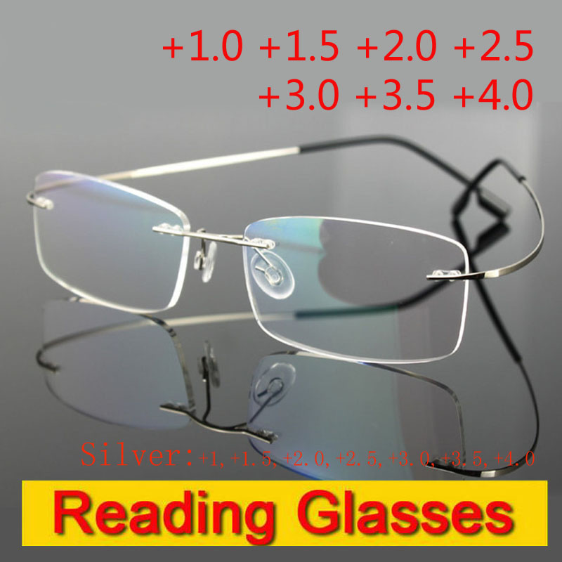 Rimless minne titan fleksible briller med forstørrelse Lens Silver Reading Presbyopic briller +1.0 +1.5 +2.0 +2.5 +3.0 +3.5 +4.0
