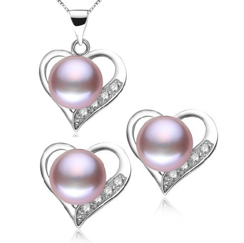 Chain Earrings Jewelry-Set Necklace Pendant Real-Freshwater-Pearl Fashion 3-Color
