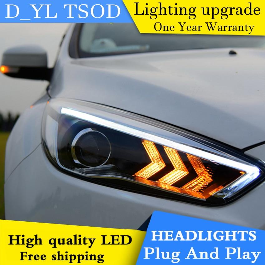 Car Styling Headlights for Ford Focus 2015 LED Headlight for Focus Head Lamp LED Daytime Running