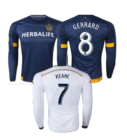 3510641ab Los Angeles 2015 2016 Long sleeve Soccer Jersey home Landon Donovan LA  Galaxy Football Shirt LS Steven Gerrard BECKHAM
