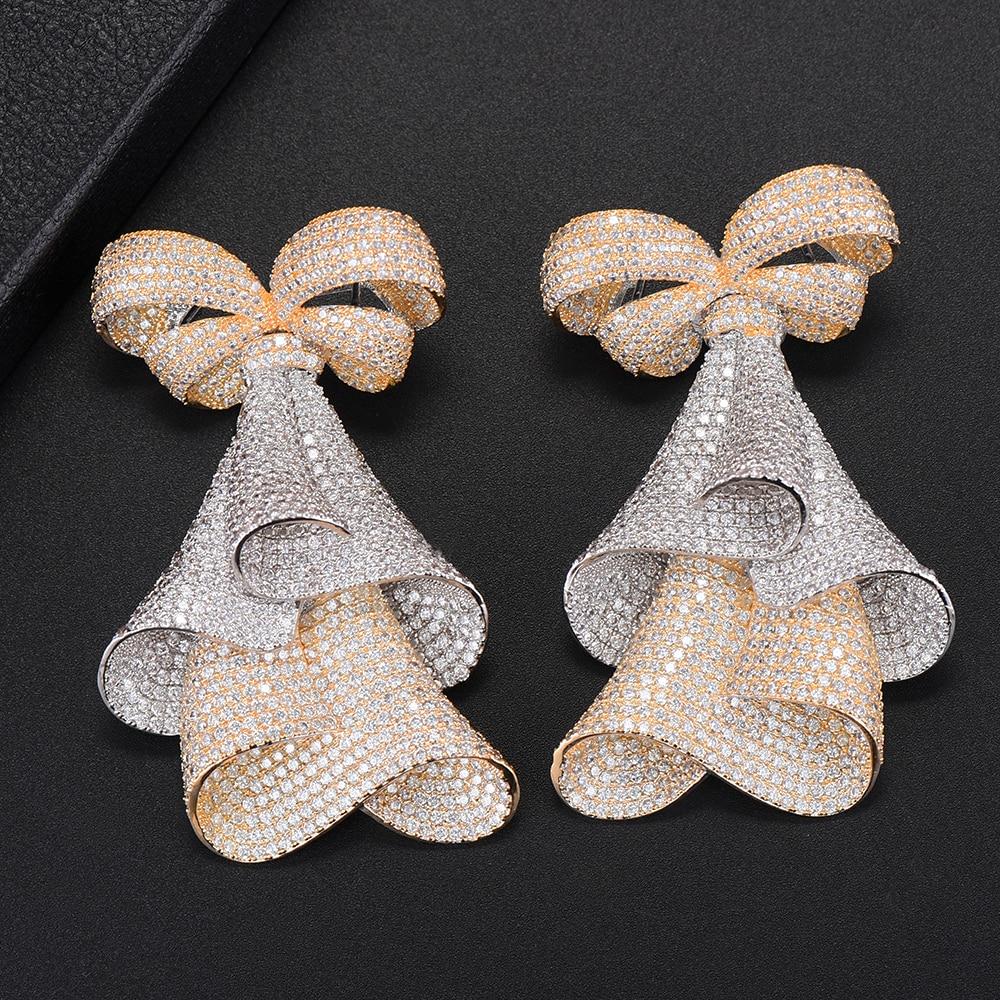 Fashion Bowknot Earrings For Women Indian Wedding Jewelry Full Cubic Zirconia Inlaid Dangle Drop Earrings Statement Jewelry Fashion Bowknot Earrings For Women Indian Wedding Jewelry Full Cubic Zirconia Inlaid Dangle Drop Earrings Statement Jewelry