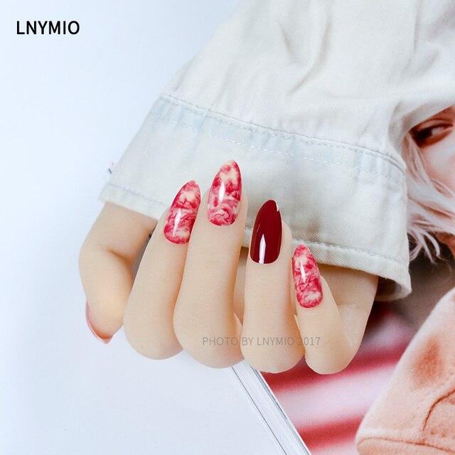 24Pcs red fake nails swirling marble natural texture press on nail ...