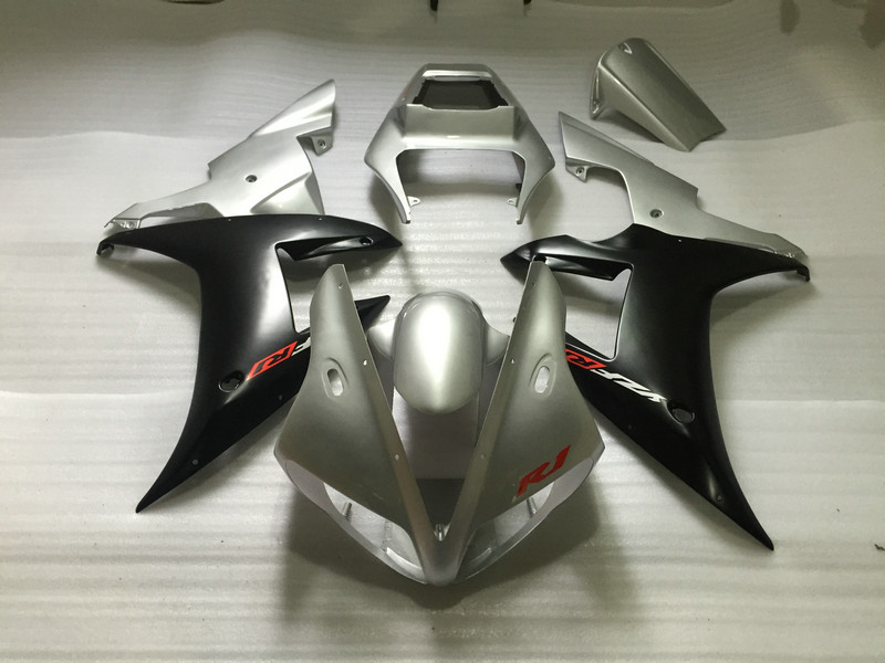 Custom Motorcycle Fairing kit for YAMAHA YZFR1 02 03 YZF R1 2002 2003 yzfr1 YZF1000 Silver black ABS Fairings set+7gifts YM82