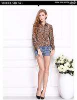 2018 Women Blouse Leopard Print Shirt Long sleeve V Neck Top Loose Blouses Chiffon Shirt Camisa Feminina Clothing