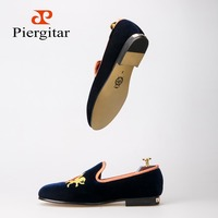 Refinement Embroidery Navy Upper Gold Outsole Velvet Shoes Men Loafers Smoking Slipper Men Flats size US 4 14 Free shipping