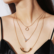 Retro-ancient national style exaggerates multi-layer Necklace geometry and drills multi-element clavicle chain