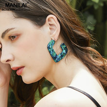 MANILAI Big Acrylic Earrings For Women Acetate Tortoiseshell Stud Earrings Statement Jewelry Fashion Leopard Brincos 2019(China)
