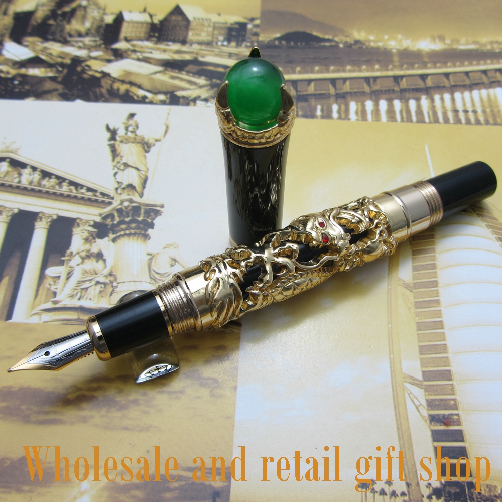 Jinhao J500 dragon king play pearl fountain pen beautiful retro culture gift ink pen jinhao a200 chinese double dragons playing with the pearl beautiful advanced roller ball pen