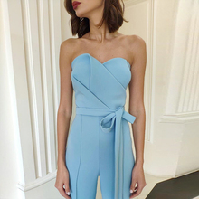 ADYCE Celebrity Runway Jumpsuits For Women 2019 Summer Sexy Blue Bow Romper Long Jumpsuit Strapless Bodycon Club Bodysuits