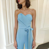 ADYCE Celebrity Runway Jumpsuits For Women 2019 Summer Sexy Blue Bow Romper Long Jumpsuit Sexy Strapless Bodycon Club Bodysuits
