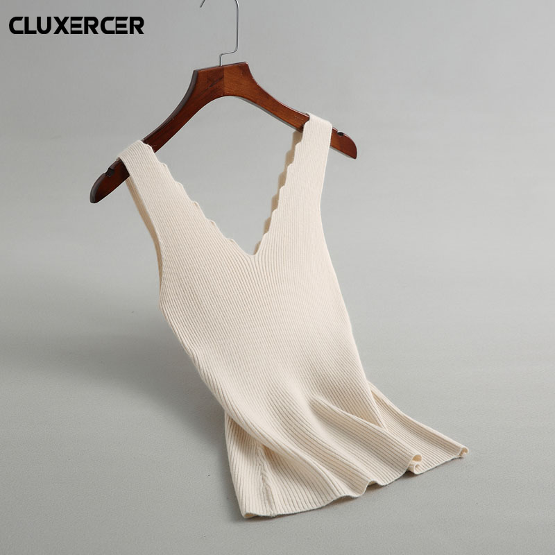 Knitted Tank Tops Female Sexy V-neck Vest Plus size Solid Club Tops Women Black Beige T shirt Cotton Polyester Tank Top